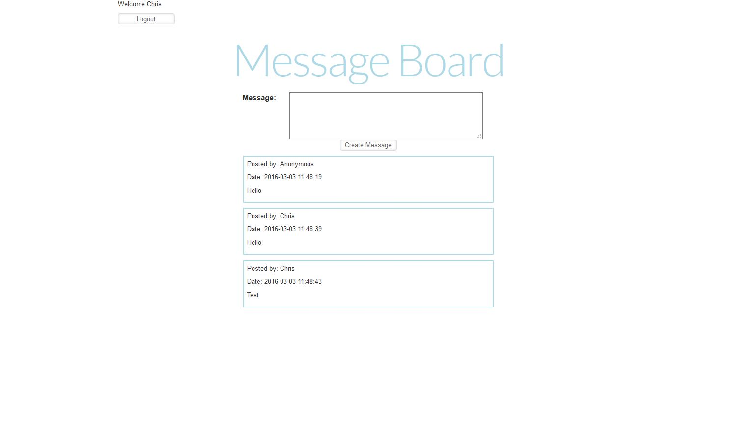 Image of what the message board app looks like